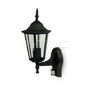 V-TAC Garden Wall Lamp E27 Matt Black With PIR Sensor